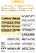 Disclosing bad news to patients with lifethreatening illness: Differences in attitude between physicians and nurses in Israel