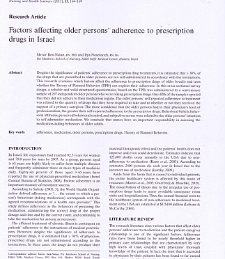 Factors affecting older persons' adherence to prescription drugs in israel (הגדל)