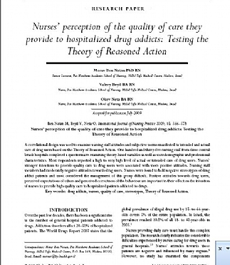 Nurses' perception of the quality of care they provide to hospitalized drug addicts: Testing the Theory of Reasoned Action (הגדל)